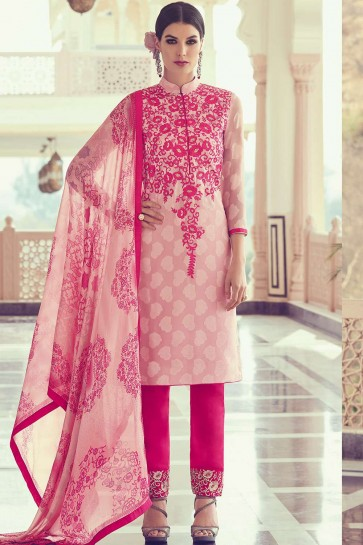 Light pink Georgette and jacquard Straight Pant Suit