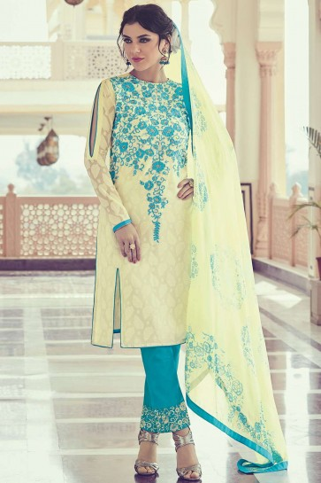 Light yellow Georgette and jacquard Straight Pant Suit
