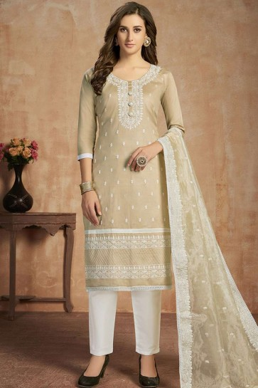 Cream Cotton Straight Pant Suit
