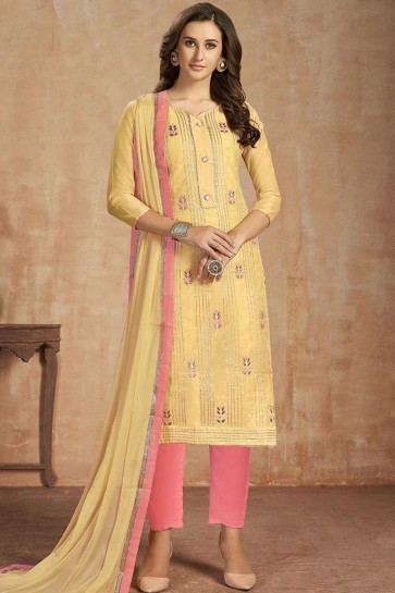 Yellow Cotton Straight Pant Suit