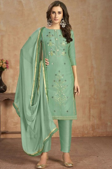 Sea green Cotton Straight Pant Suit