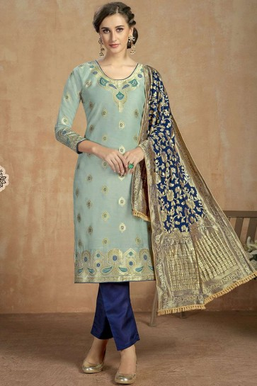 Steel blue Cotton and jacquard Straight Pant Suit