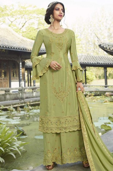 Light green Chiffon Palazzo Suit