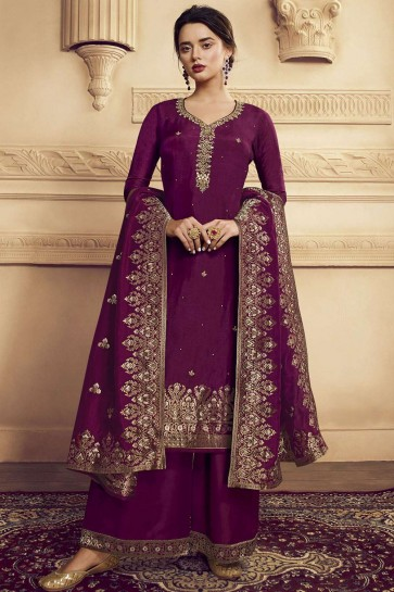 Wine Satin and silk Palazzo Suit