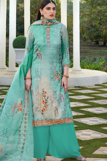 Sea green Cotton and silk Palazzo Suit