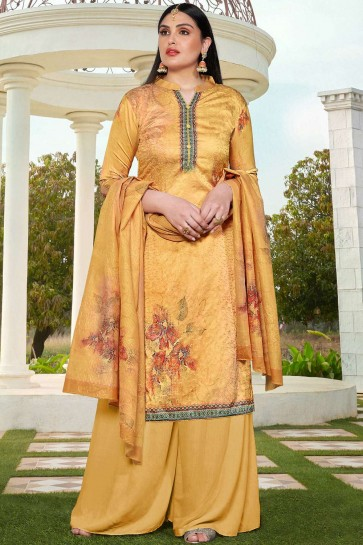 Mustard yellow Cotton and silk Palazzo Suit