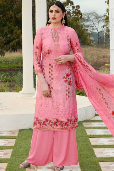 Pink Cotton and silk Palazzo Suit