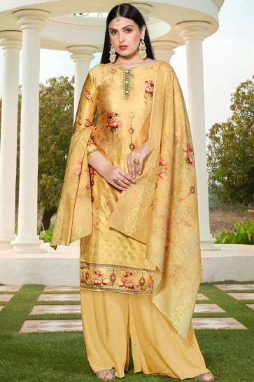 Light yellow Cotton and silk Palazzo Suit