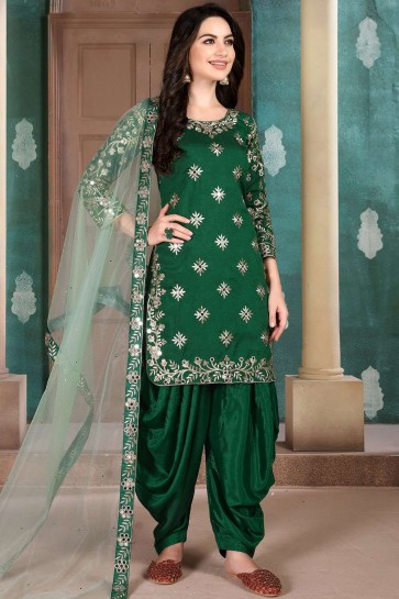 Dark green Art silk Patiala Suit