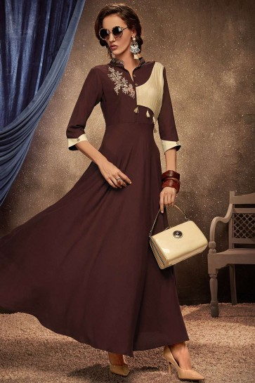 Brown Rayon Gown Dress
