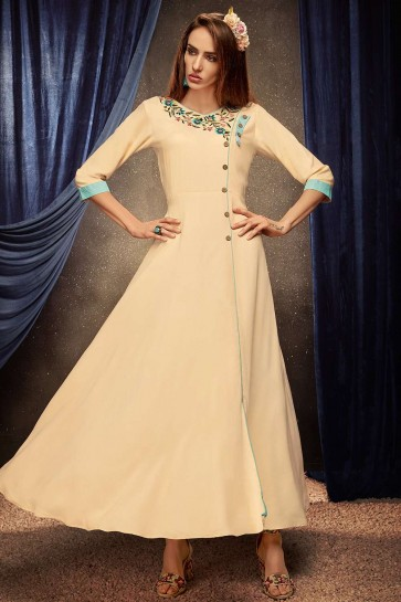 Cream Rayon Gown Dress
