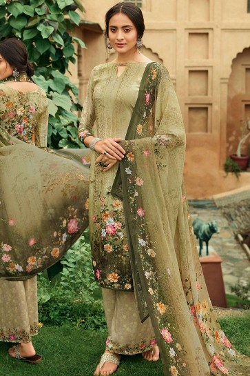 Olive green Crepe Palazzo Suit