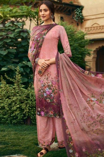 Pink Crepe Palazzo Suit
