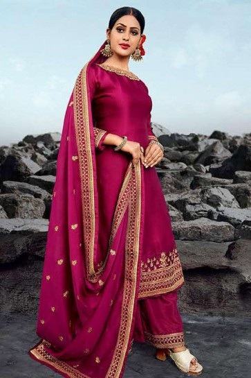Rani pink Satin georgette Palazzo Suit