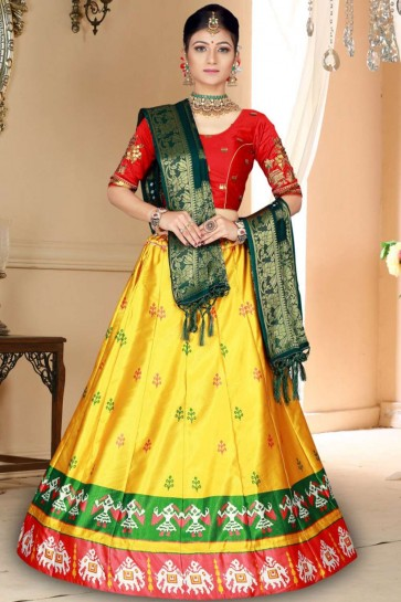 Yellow Satin and silk Lehenga Choli