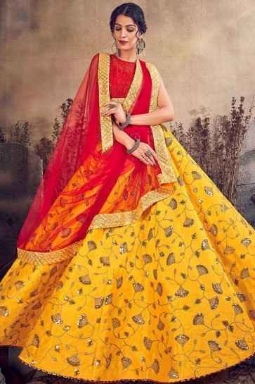 Mustard yellow Art silk Lehenga Choli