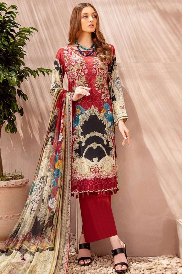 Red Cotton and satin Palazzo Suit