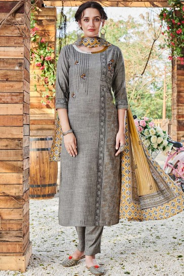 Grey Rayon Straight Pant Suit