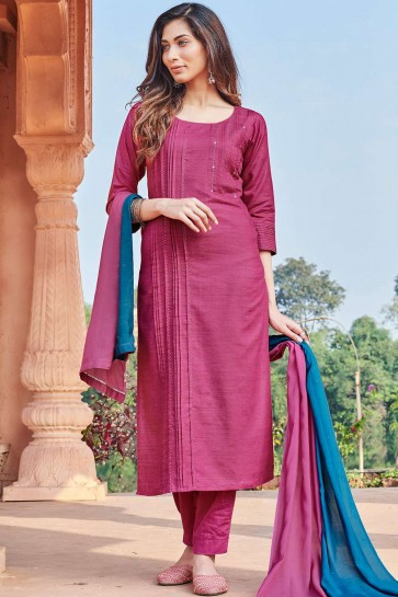 Pink,magenta Cotton Straight Pant Suit
