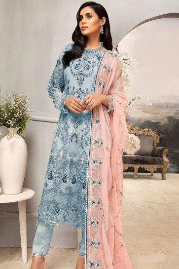 Sky blue Georgette Palazzo Suit