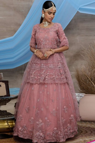 Dusty pink Net Lehenga Choli