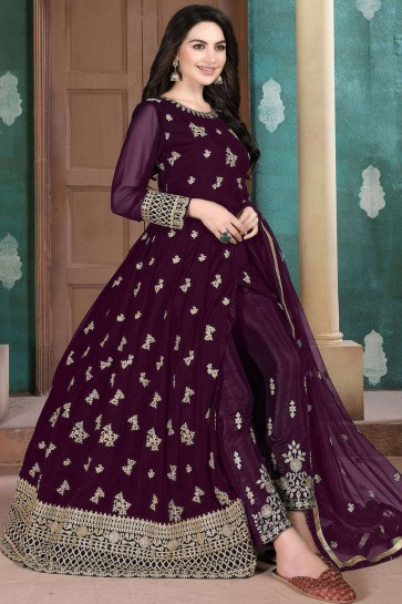 Dark wine Georgette Anarkali Suit
