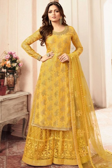 Yellow Jacquard and silk Sharara Suit