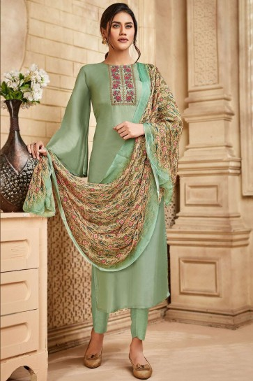 Pastel green Satin and silk Palazzo Suit