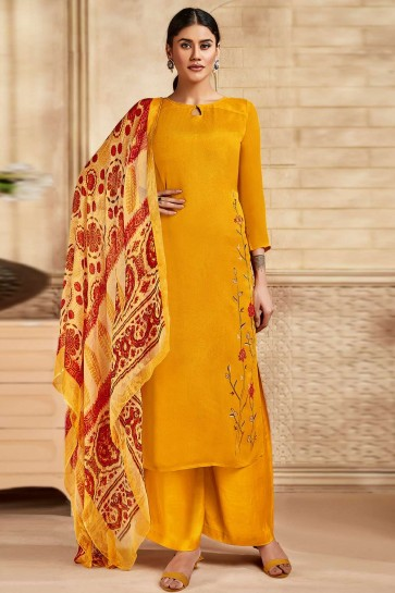 Yellow Satin and silk Palazzo Suit
