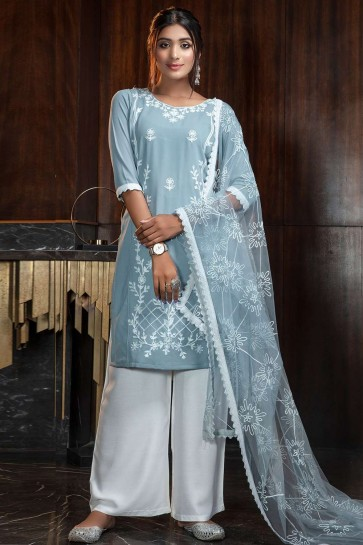 Baby blue Georgette Palazzo Suit