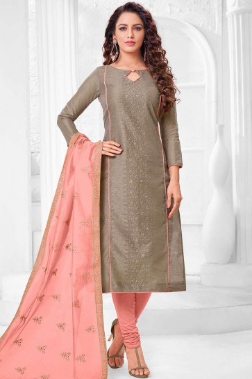 Brown Silk Churidar Suit