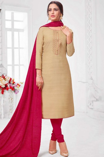 Beige Silk Churidar Suit
