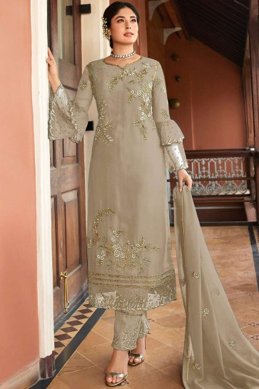 Sand grey Satin georgette Straight Pant Suit