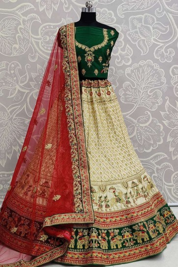 Cream Satin Bridal Lehenga Choli