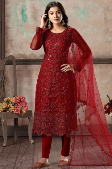Red Net Straight Pant Suit