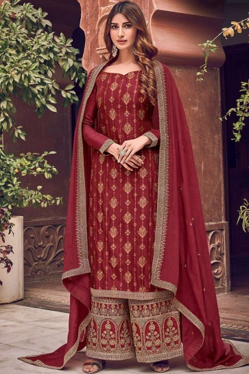 Maroon Jacquard and silk Palazzo Suit