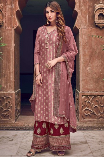 Dusty pink Jacquard and silk Palazzo Suit