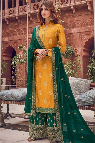 Yellow Jacquard and silk Palazzo Suit