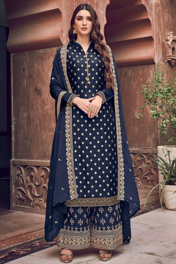 Navy blue Jacquard and silk Palazzo Suit