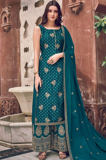 Teal blue Jacquard and silk Palazzo Suit