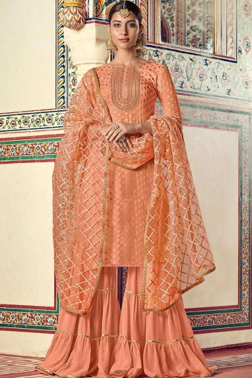 Peach Georgette and jacquard Sharara Suit