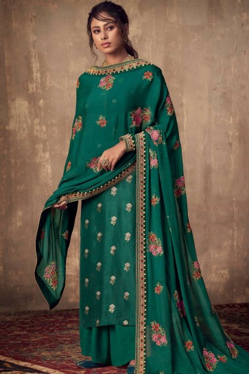 Teal green Jacquard and silk Sharara Suit