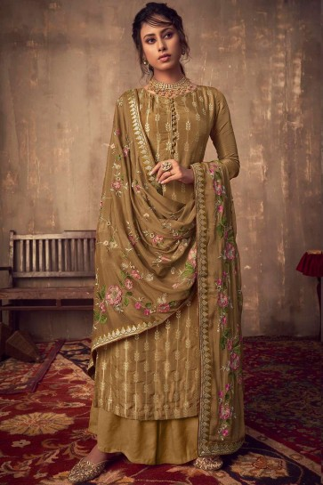 Olive brown Jacquard and silk Sharara Suit