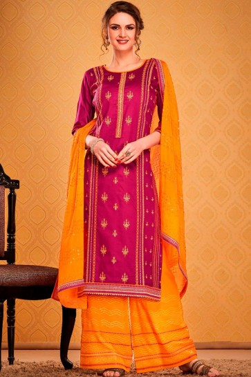 Dark pink Cotton and silk Palazzo Suit