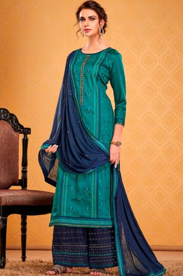Blue Cotton and silk Palazzo Suit