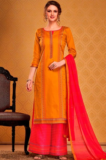 Musturd yellow Cotton and silk Palazzo Suit