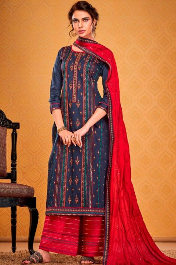 Navy blue Cotton and silk Palazzo Suit