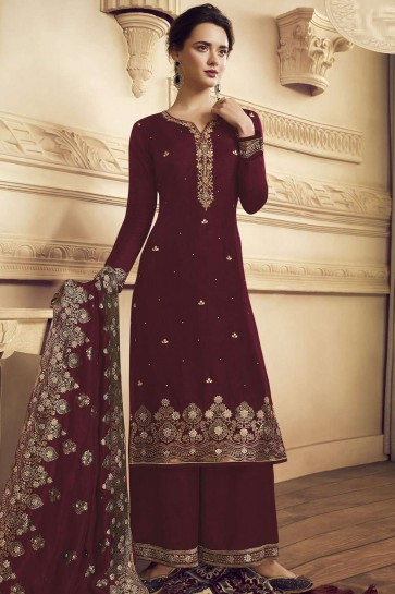 Palazzo Suit in Maroon Crepe with Crepe