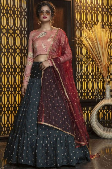 Pine green Cotton Lehenga Choli