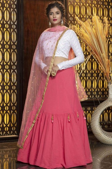 Lehenga Choli in Pink Georgette with Embroidery
